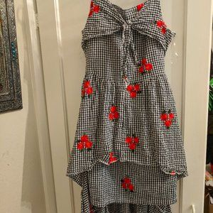 Rose And Gingham Layered Tye Front Dress